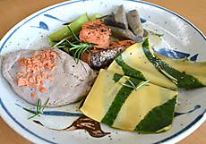 塩鮭と八幡芋のフランとハンカチパスタフュメ・ド・ポワソンソース